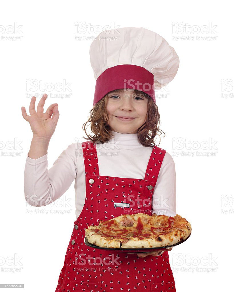beautiful little girl cook with pizza royalty-free stock photo
