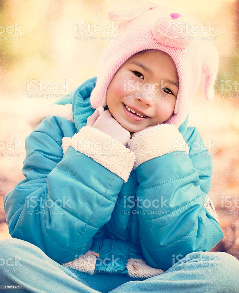 Beautiful Little Girl in Winter Clothes royalty-free stock photo