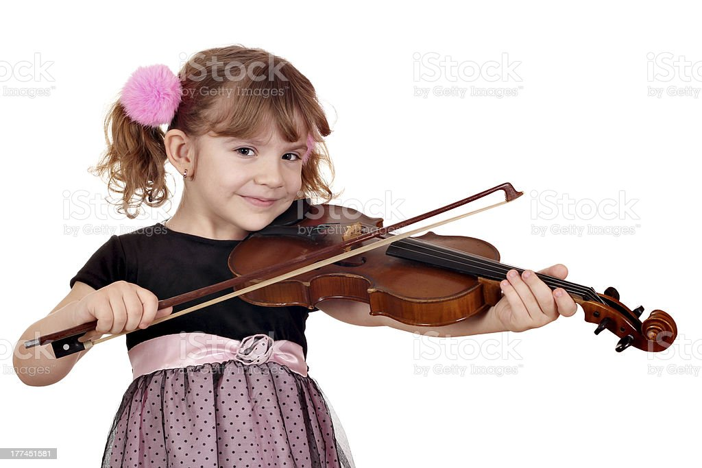 beautiful little girl play violin on white royalty-free stock photo