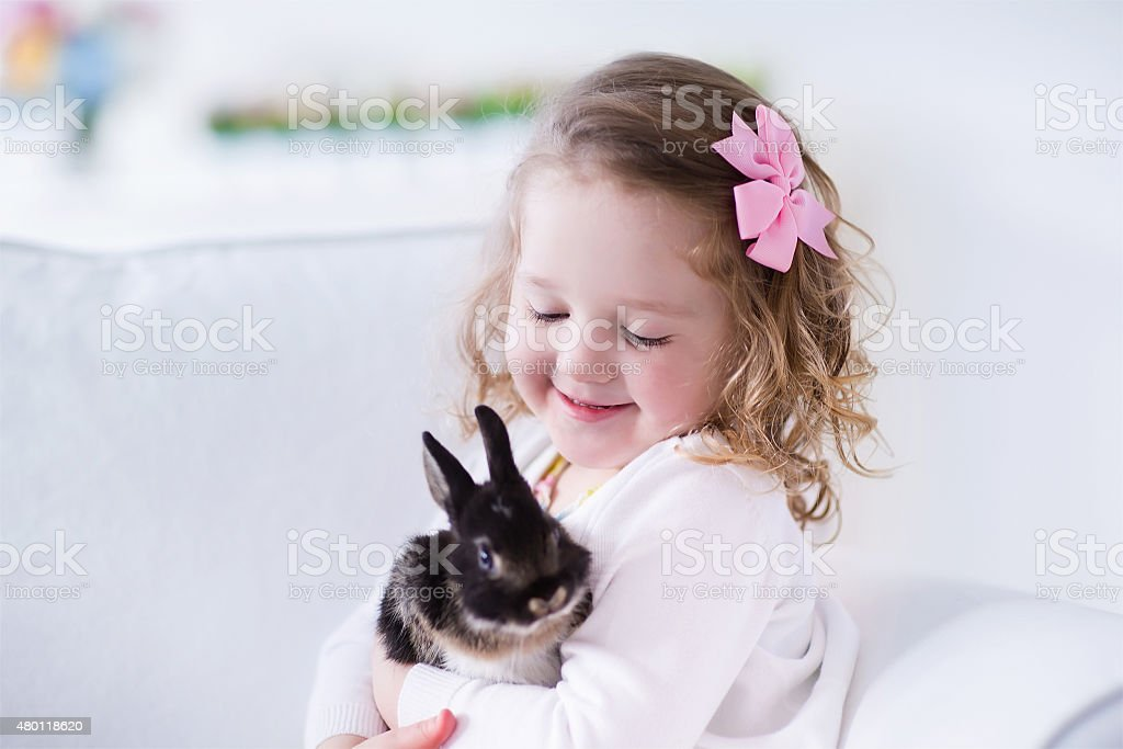 Child playing with a real rabbit. Kids play with pets. Little girl...