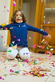 Beautiful little Girl playiong With Confetti
