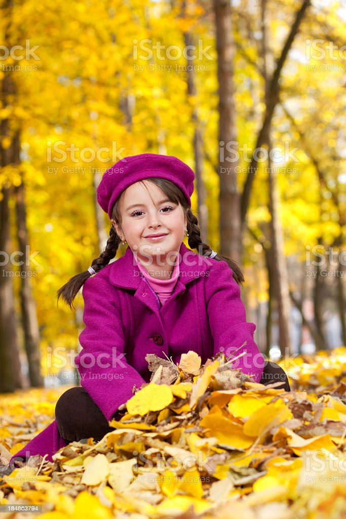 Beautiful little girl posing in autumn nature stock photo