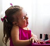 beautiful little girl, show emotions, surprise, delight, joy