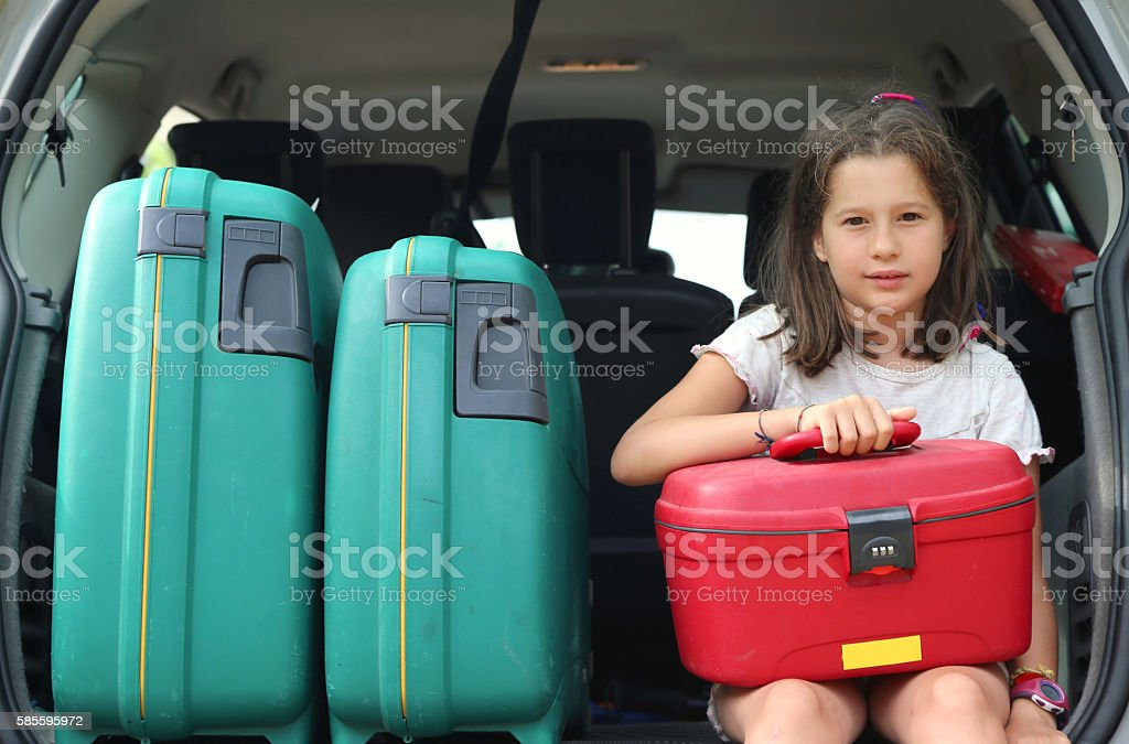 beautiful little girl with brown hair long stock photo