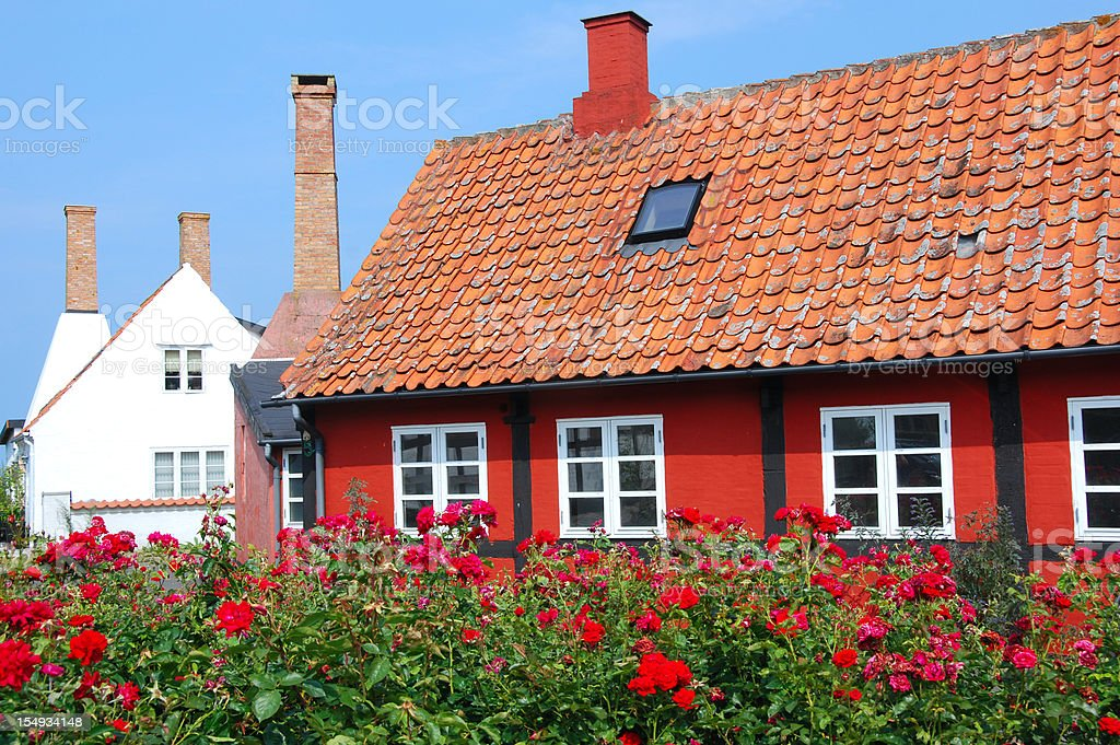 beautiful little house at Bornholm stock photo