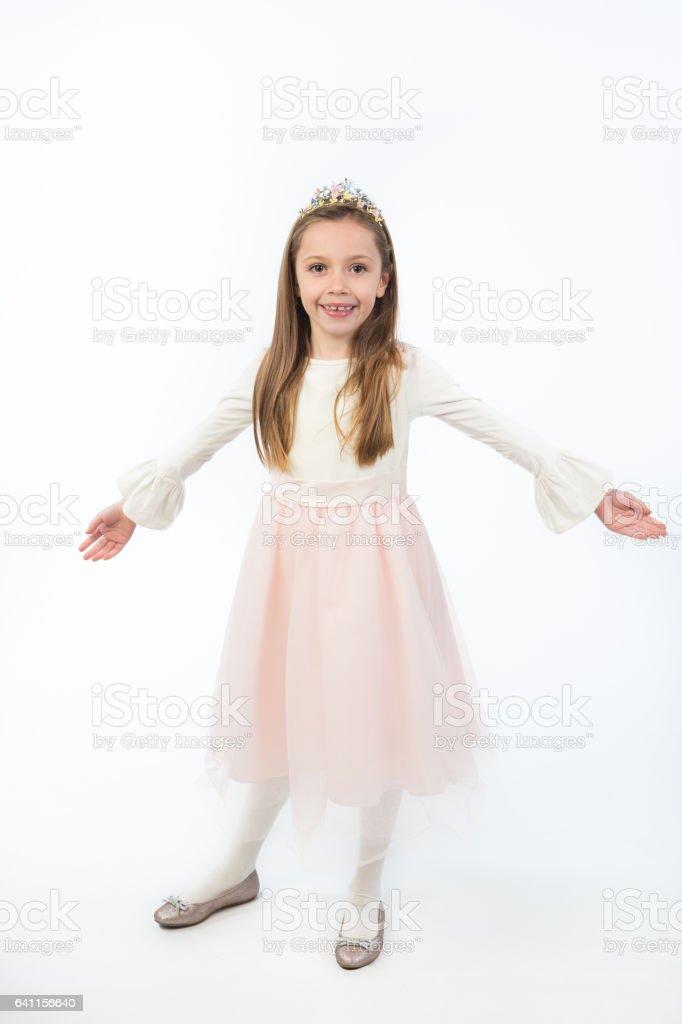 Beautiful little princess girl . An adorable baby girl . stock photo