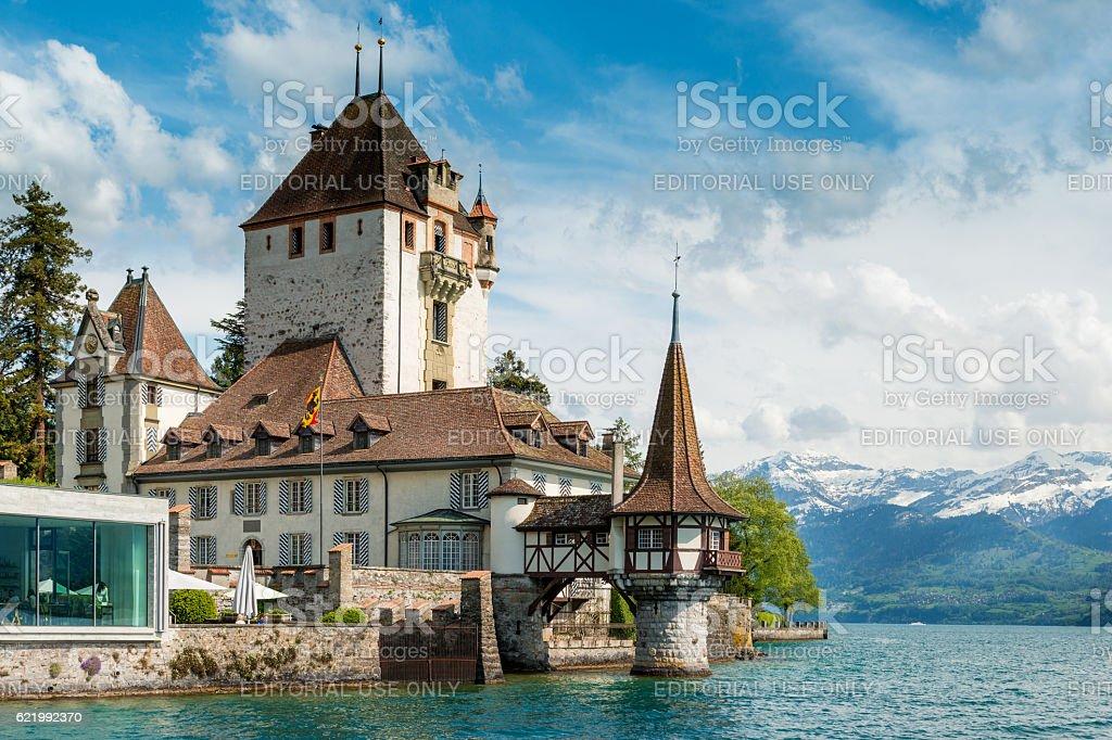 Beautiful little tower of Oberhofen castle in the Thun lake stock photo