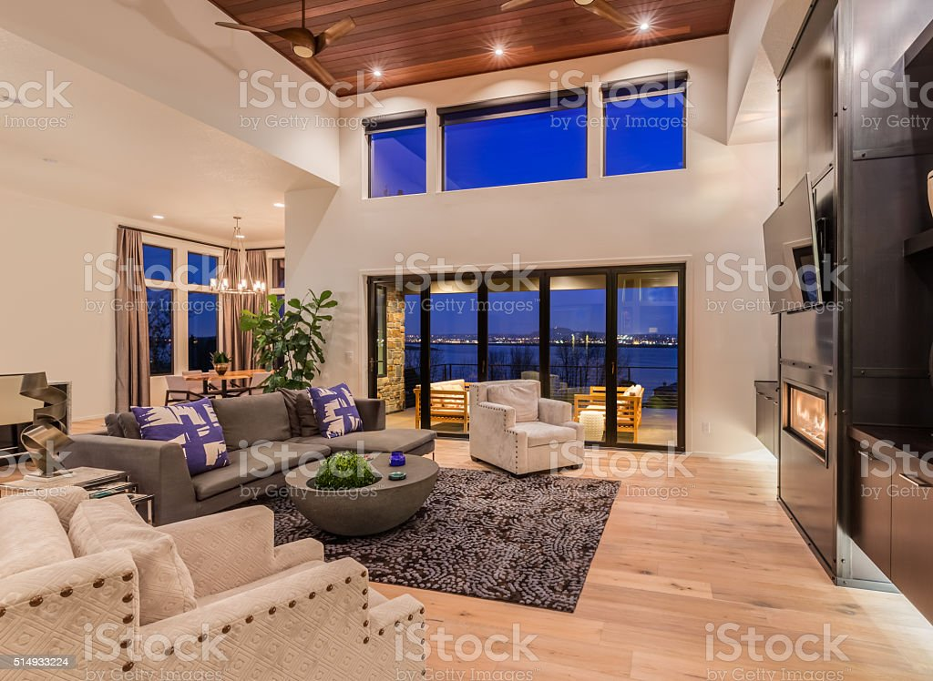 Beautiful living room interior with twilight view stock photo