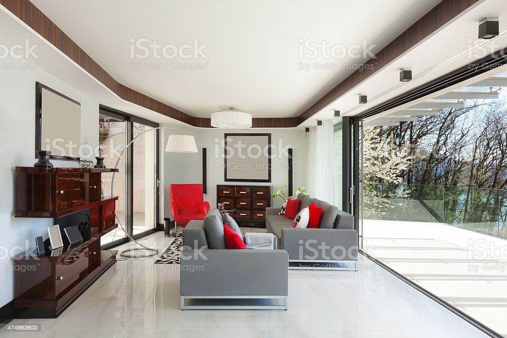 Beautiful living room of a luxury apartment stock photo
