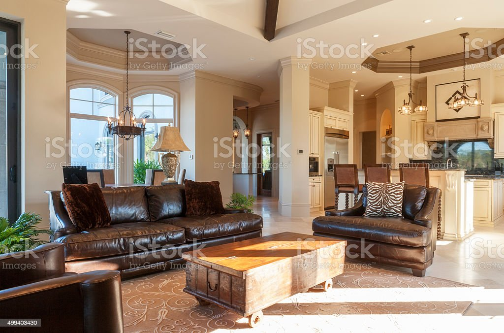Beautiful Living Room with Leather Furniture in Estate Home stock photo