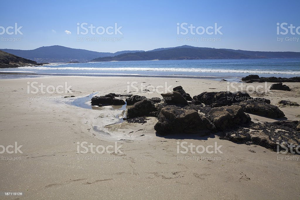 Beautiful lonely Galician beach royalty-free stock photo