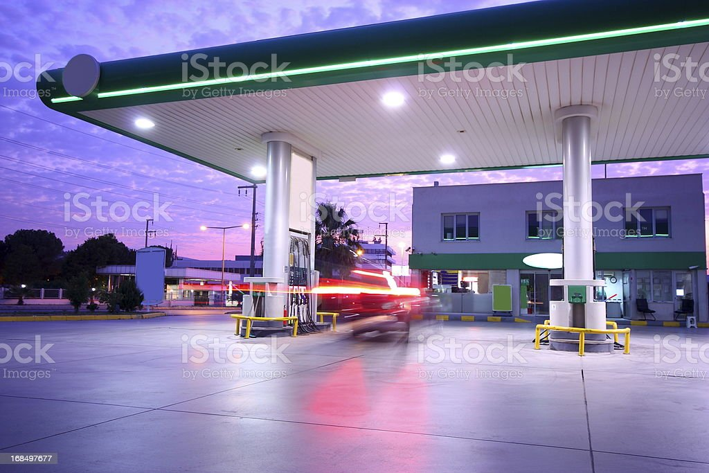 Beautiful long exposure photograph of a refueling station stock photo
