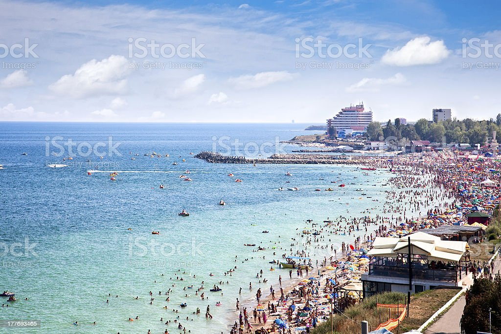 Beautiful long sand beach in Costinesti, Romania stock photo