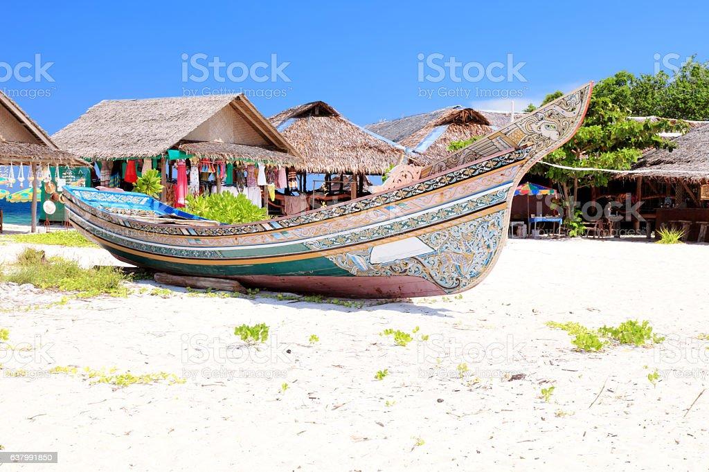 Beautiful long tail boat stock photo