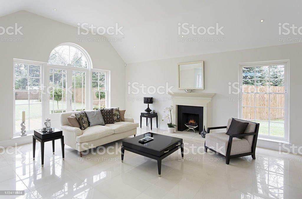 beautiful lounge with fireplace royalty-free stock photo