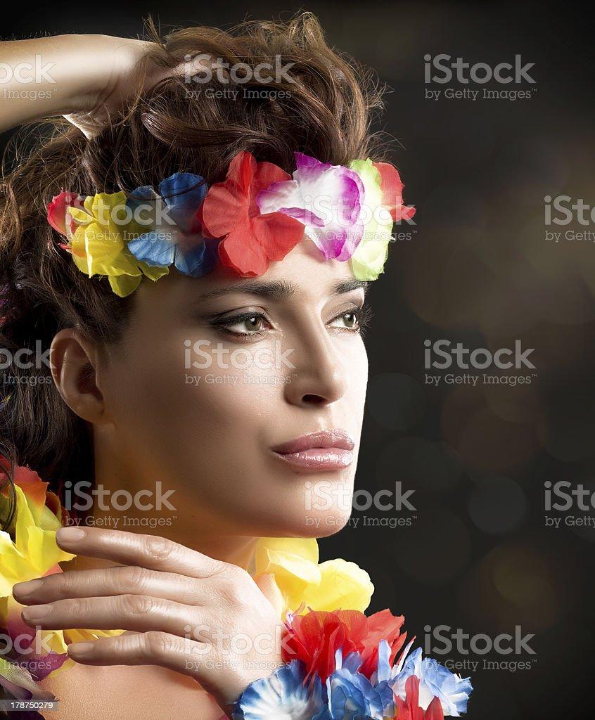 Beautiful Luau Party Girl. Hula Dance royalty-free stock photo