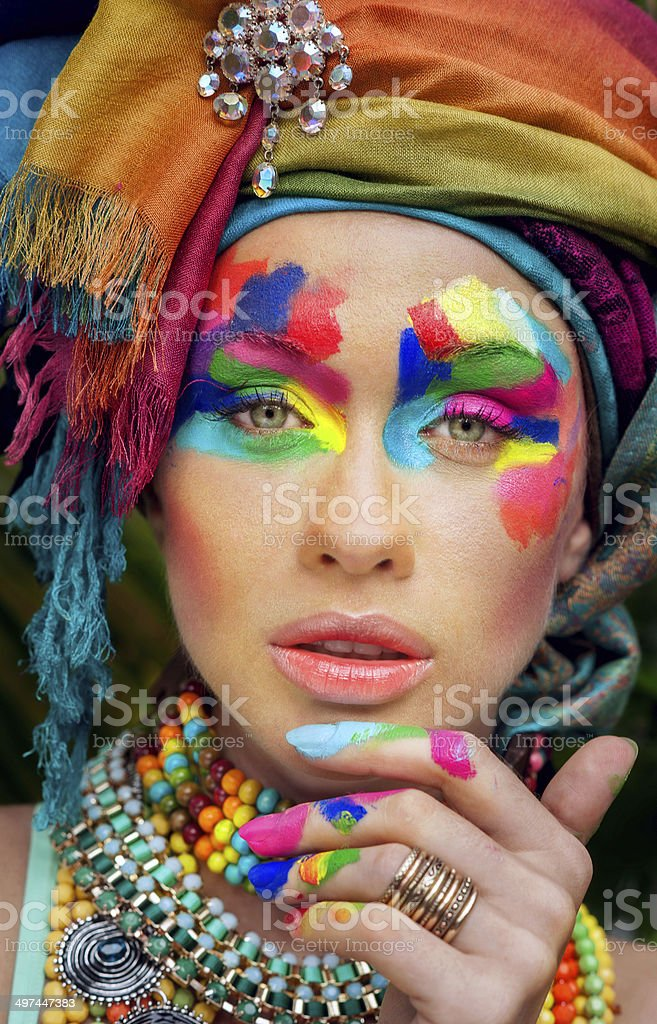 beautiful, lush makeup on beautiful girl stock photo