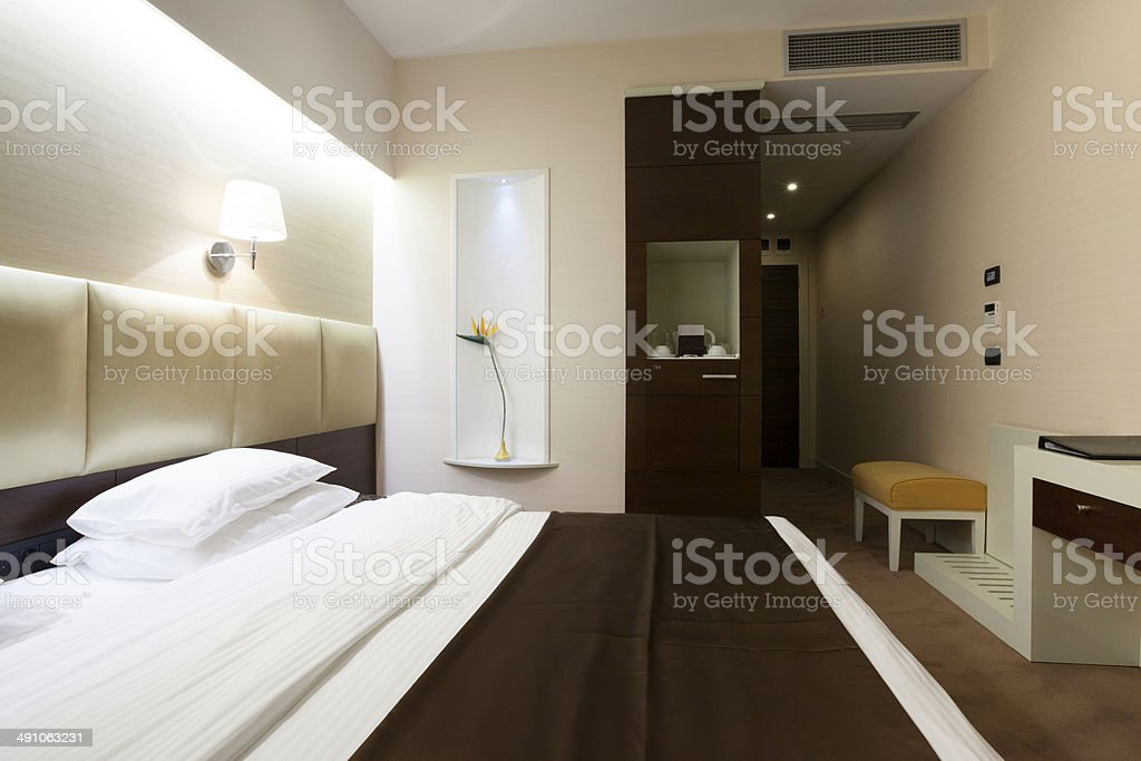 Beautiful luxury hotel double bed room royalty-free stock photo