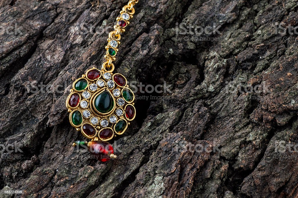 Beautiful luxury Tika. Indian Traditional Jewellery. stock photo