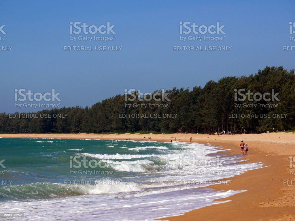 PHUKET, THAILAND - February 7, 2017: Beautiful Mai Khao beach stock photo