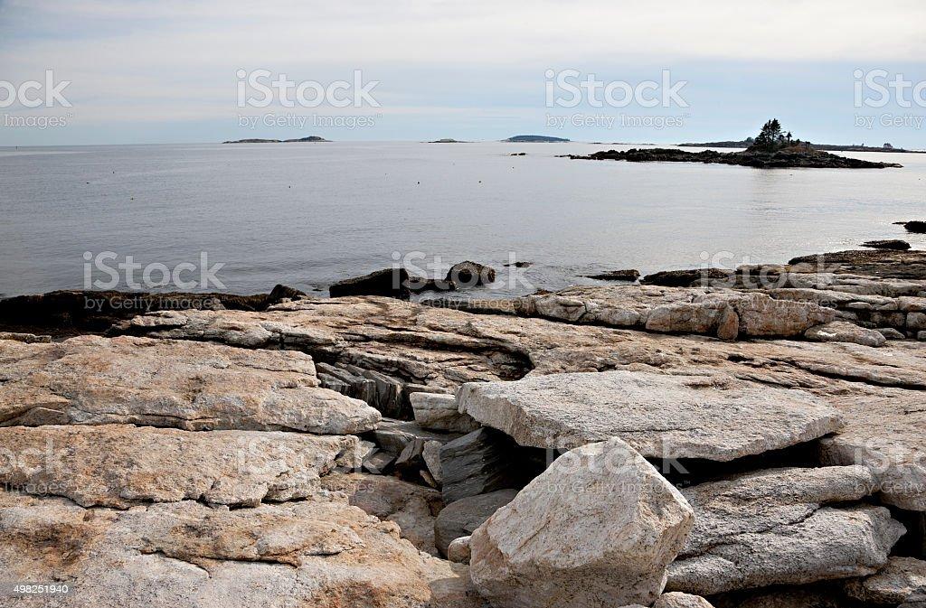 Beautiful Maine coast at Ocean Point stock photo