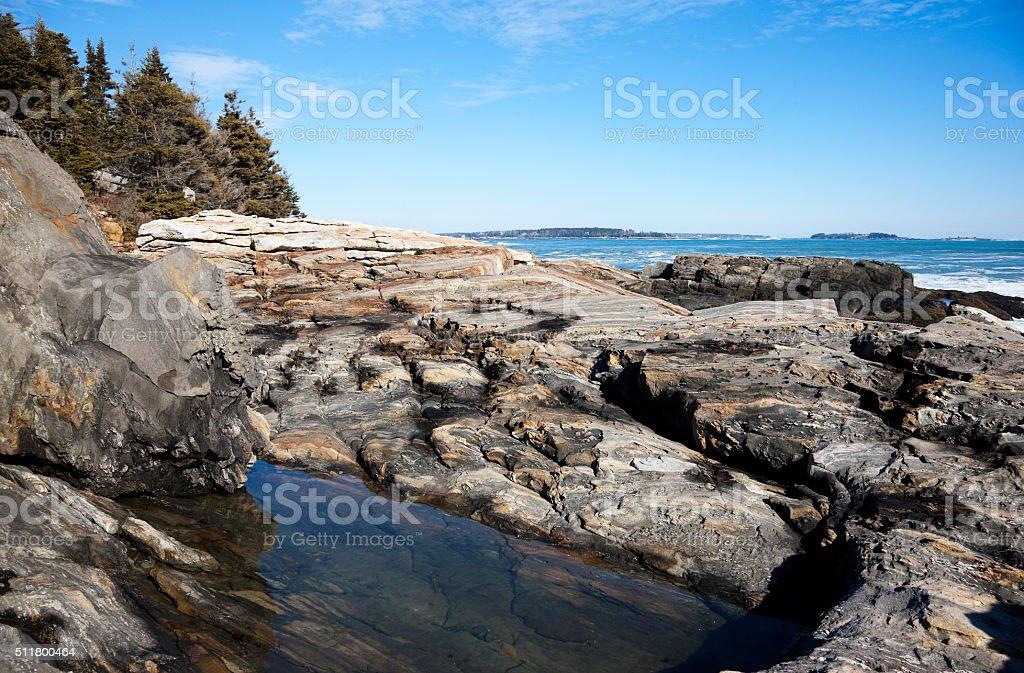 Beautiful Maine coast in late February stock photo