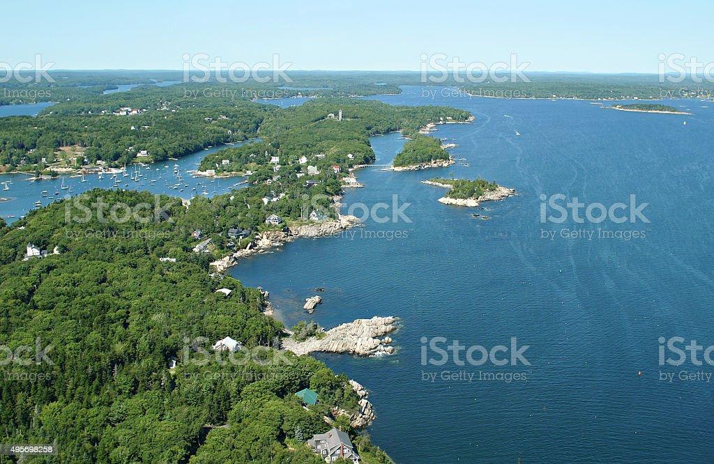Beautiful Maine coastline from mid air stock photo