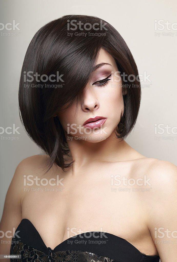 Beautiful makeup woman. Black short hair style. portrait stock photo