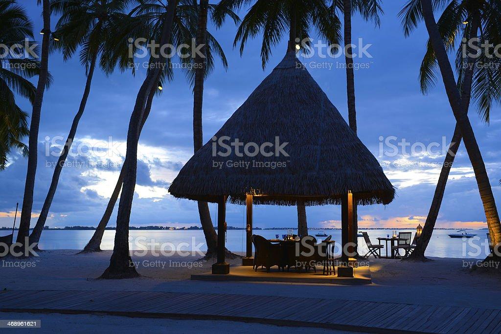 Beautiful Maldives Beach Night Scene royalty-free stock photo