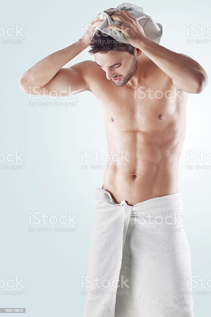 Beautiful male after shower royalty-free stock photo