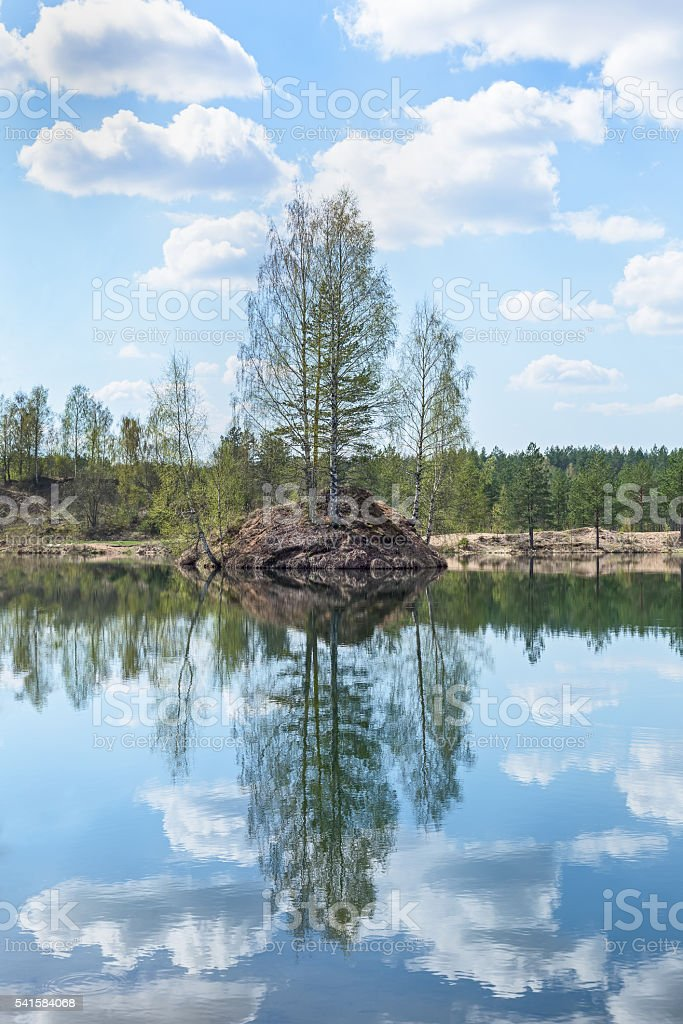 beautiful Maluksa lake landscape, Saint Petersburg, Russia stock photo