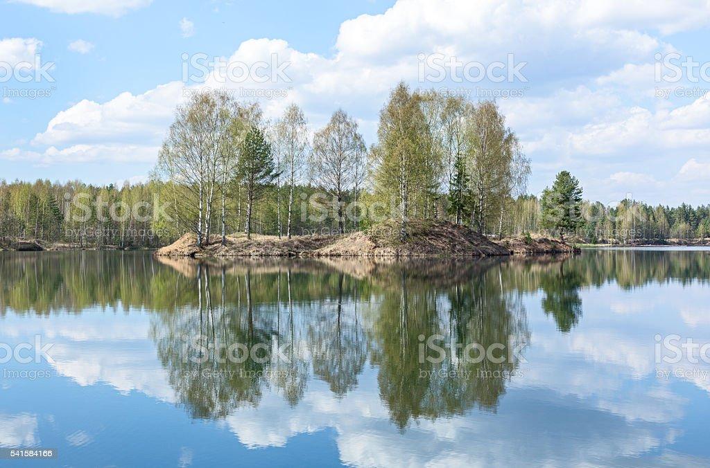 beautiful Maluksa lake landscape, Saint Petersburg, Russia stock photo