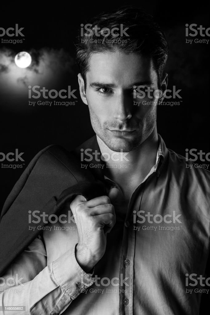 Beautiful man on moonlight royalty-free stock photo