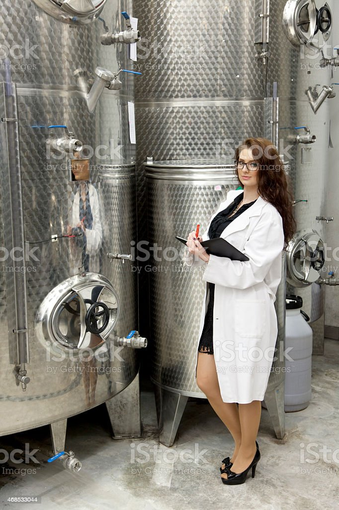 Beautiful manageress when checking in chemical manufacturing stock photo