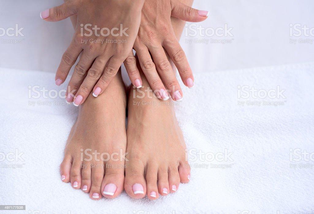 Beautiful manicure and pedicure stock photo