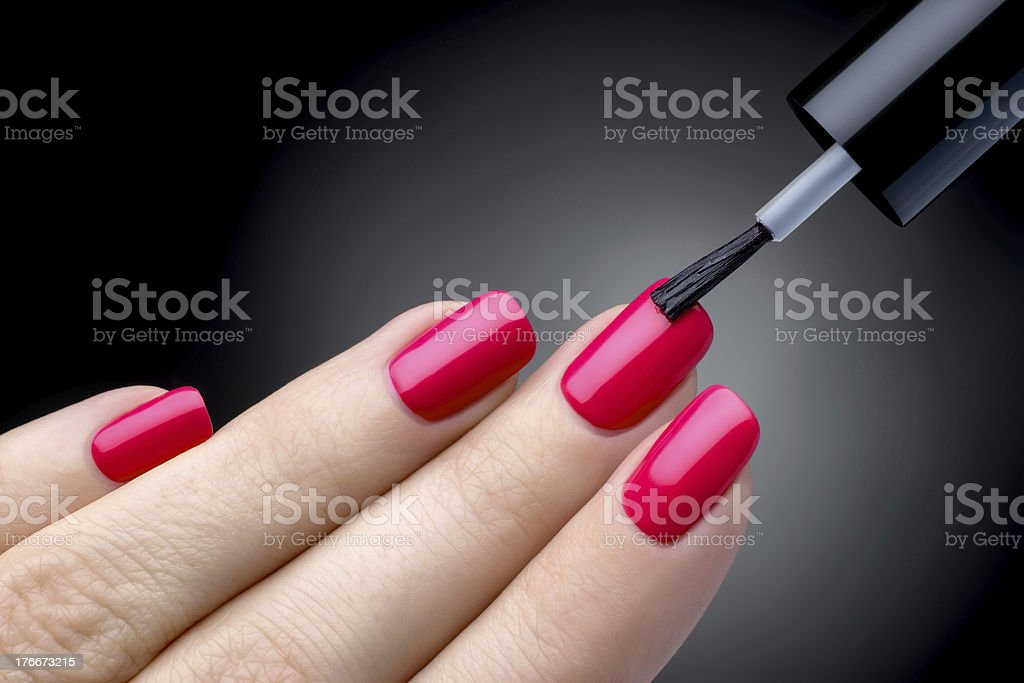 Beautiful manicure process. stock photo