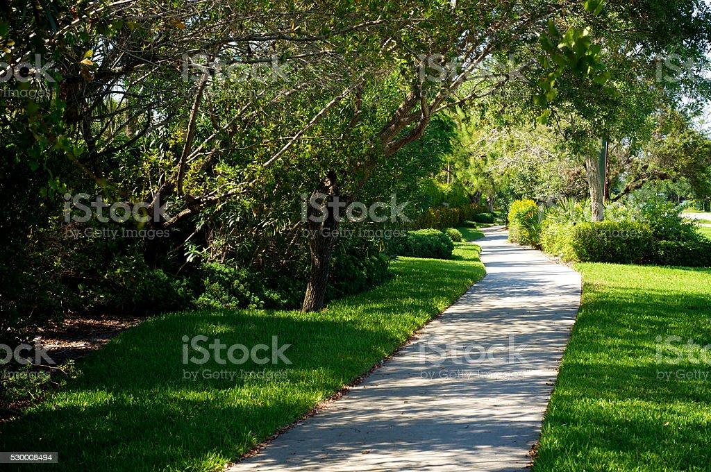 beautiful manicured bike path stock photo