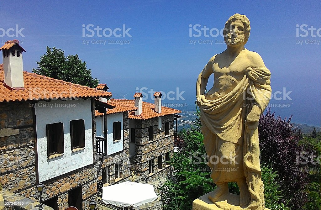 Beautiful marble sculpture of ancient greek god stock photo