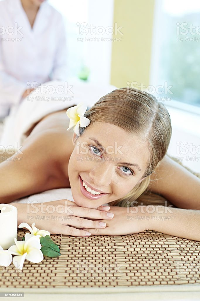 Beautiful massage client royalty-free stock photo