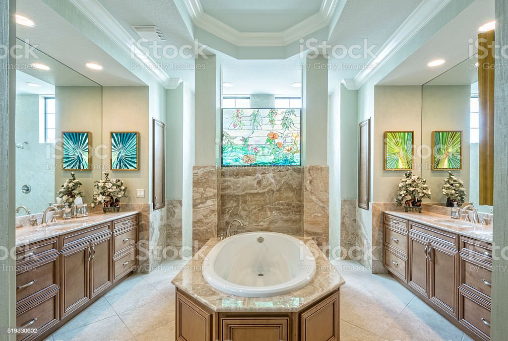 Beautiful Master Bathroom in an Estate Home stock photo