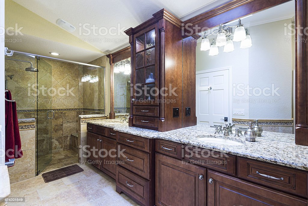 Beautiful Master Bathroom with double sink and shower stock photo