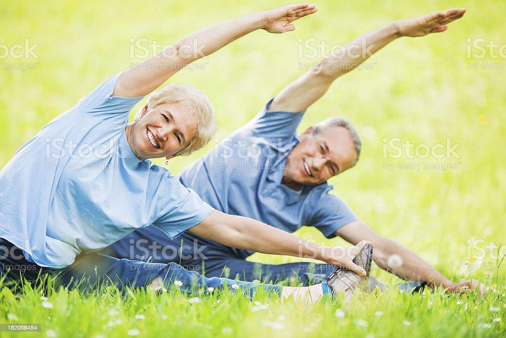 Beautiful mature couple exercising. royalty-free stock photo