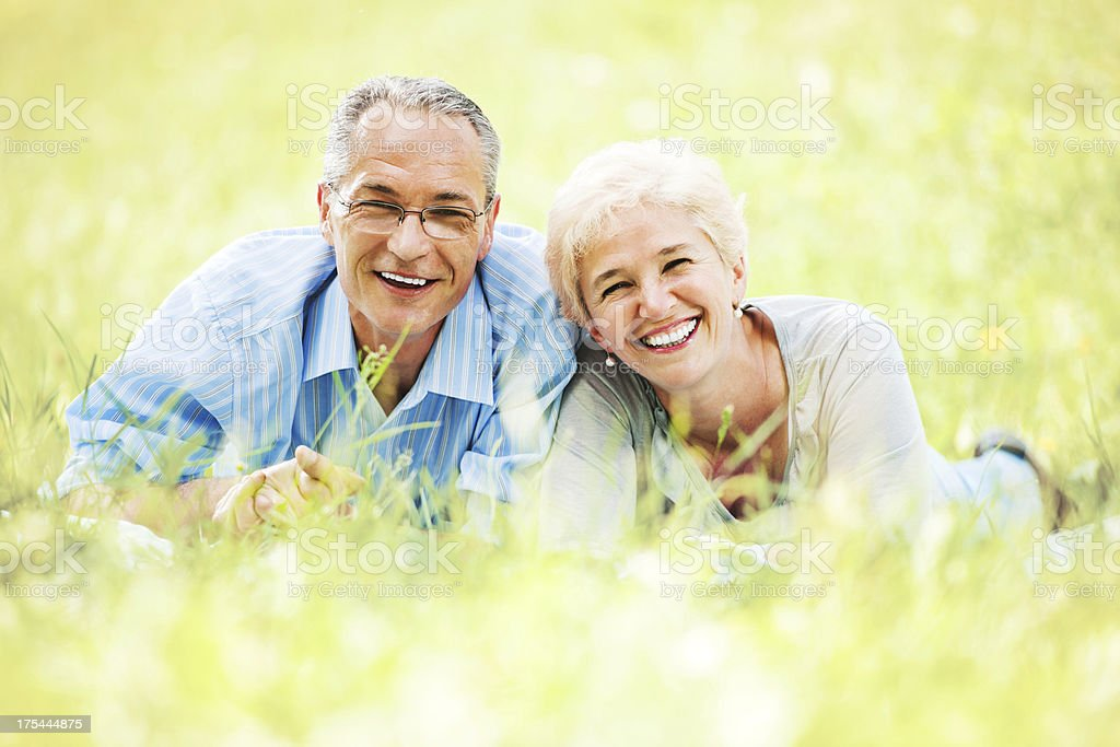 Beautiful mature couple in nature royalty-free stock photo