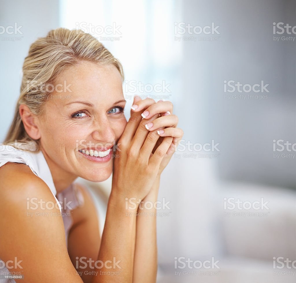 Beautiful mature woman smiling stock photo