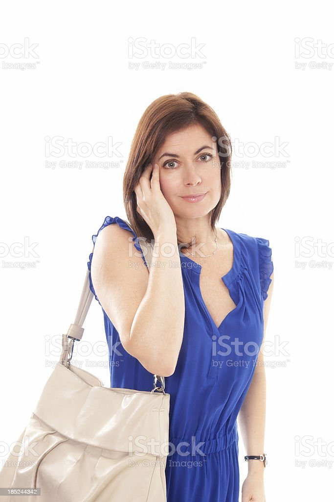 Beautiful mature woman with hand up stock photo