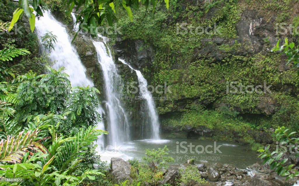 Beautiful Maui Hawaii Waterfall stock photo