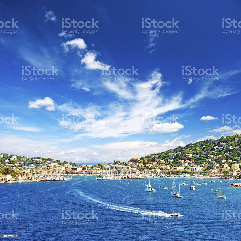 beautiful mediterranean landscape with blue sky stock photo