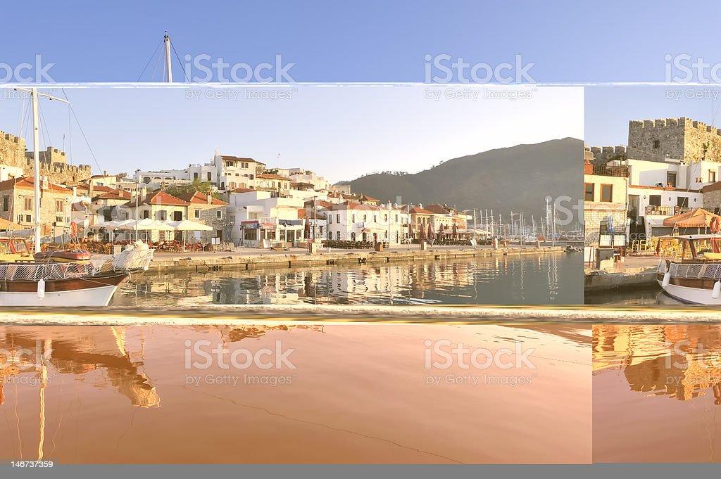 Beautiful mediterranean port city stock photo