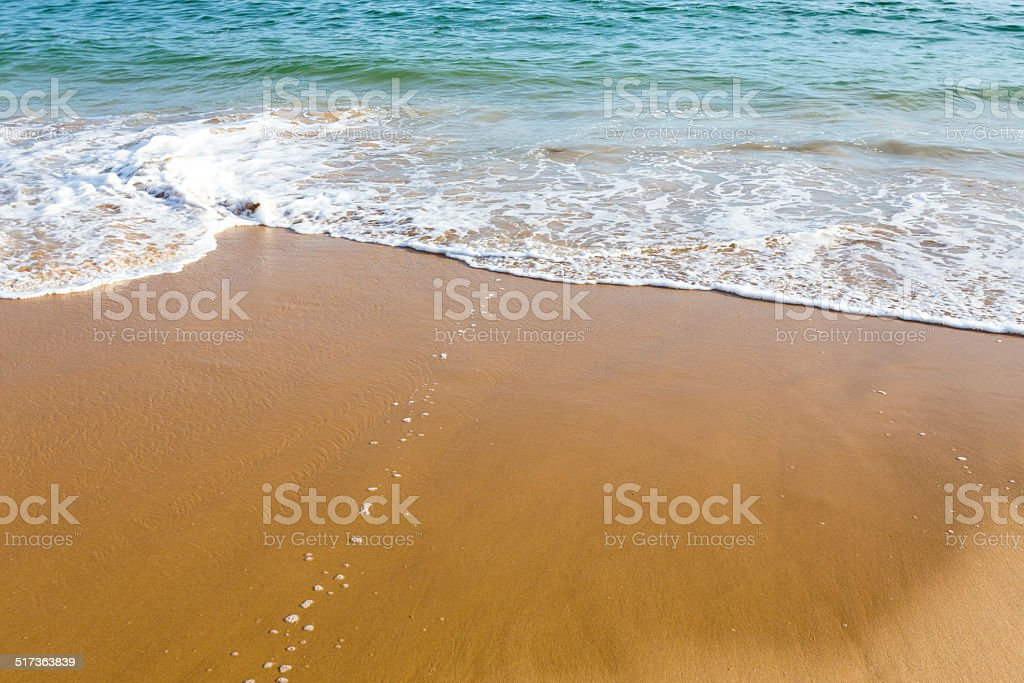 Beautiful mediterranean water lapping on the shore stock photo