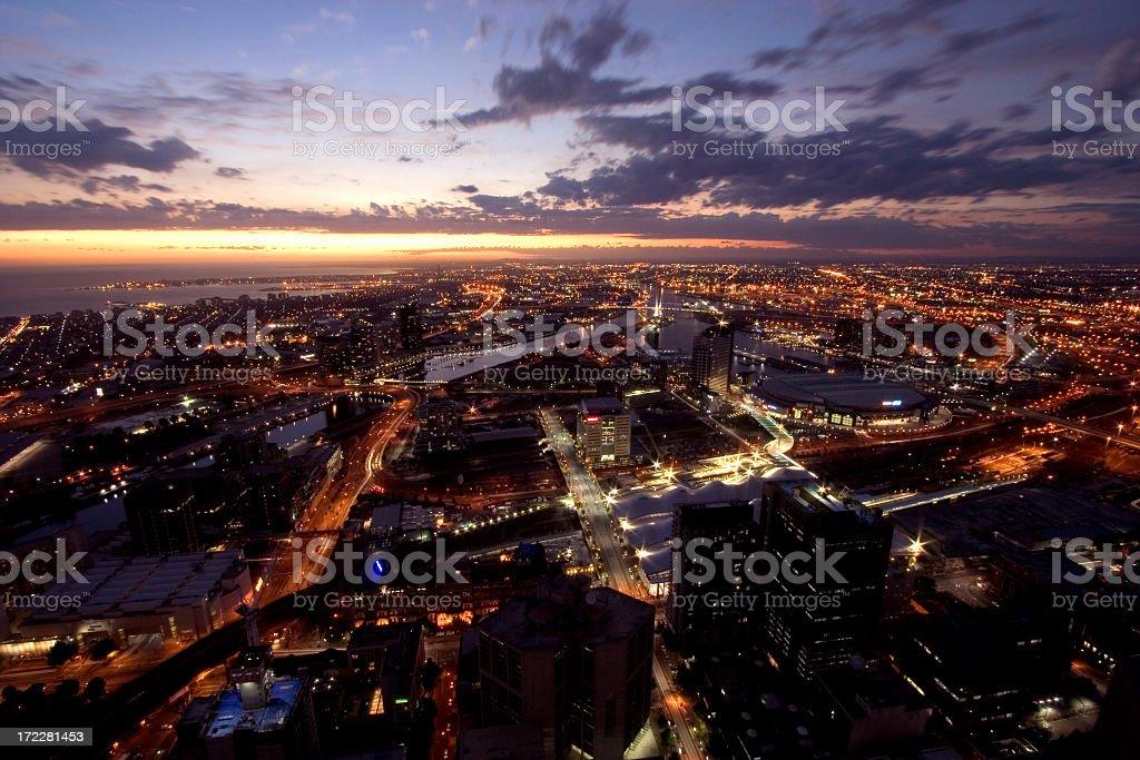 Beautiful Melbourne city shot at sunset royalty-free stock photo